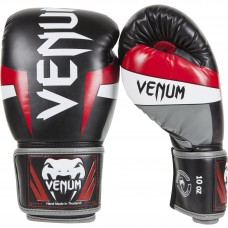 "Venum ""Elite"" Boxing Gloves - Black/Red/Grey"