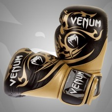 Venum Tribal Boxing Gloves - Black/Gold, 16 oz